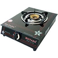 Bếp ga đơn mâm đồng, điếu Inox, dùng bình ga lớn 12kg, mặt kiếng cường lực Hayasa-Hàng chính hãng