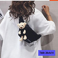 Túi bao tử vải bố kèm gấu, túi đeo chéo nam nữ trước ngực