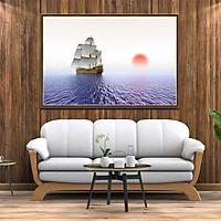 Tranh canvas phong thủy treo tường - Thuận buồm xuôi gió - TBXG007 - Khung hoa văn viền mỏng - 120x80cm
