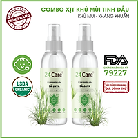 Combo 2 chai Xịt Phòng Tinh Dầu Sả JaVa Hữu Cơ Organic 24Care 100ML/Chai - Kháng khuẩn - Khử mùi hôi - Đuổi muỗi, côn trùng.