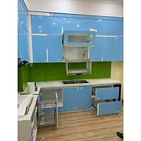 Tủ bếp gỗ Melamin xanh dương