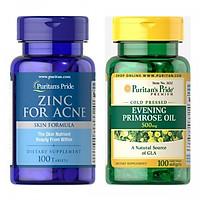 Thực phẩm chức năng - Combo làm đẹp, sạch mụn cho da Zinc for Ance và tinh dầu hoa anh thảo 500mg