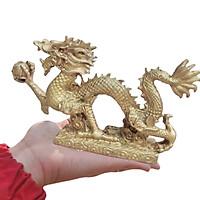 Tượng rồng đồng phong thuỷ vật phẩm dài 21cm