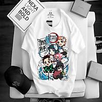 Áo thanh gươm diệt quỷ Kimetsu No Yaiba Tanjiro Nezuko chuyến tàu vô tận, áo thun Anime Manga Unisex Nam Nữ, áo phông cổ tròn basic cộc tay thoáng mát, mẫu mới có size bé cho trẻ em