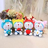 Thú bông Doraemon đội mũ thú - 20cm (Ếch Xanh - Pikachu - Tuần Lộc - Heo Hồng)