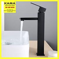 Vòi lavabo vuông cao nóng lạnh mạ đen inox 304 KAMA VC16 - thân cao 30 cm, cân nặng 1kg, tặng kèm bộ dây cấp nước nóng lạnh 60 cm, vòi chậu lavabo vuông nóng lạnh mạ đen sang trọng