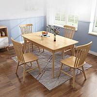 Bộ bàn ăn gỗ tự nhiên CF29 140cm kèm 6 ghế (kt 140x80x75cm)