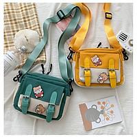 Túi vải đeo chéo nữ giá rẻ hai khóa dọc BAG U V2D85