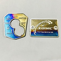 Bộ 2 tem Ổ Khóa + Nắp Dầu TiTan 3D gắn xe Sonic BẢO LONG RACING