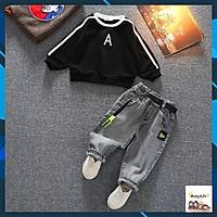 Quần áo cho bé trai, quần jean + áo nỉ da cá trẻ em co giãn 4 chiều, mềm mại từ 7-27kg. Mã JEAN A