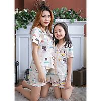 Đồ bộ mặc nhà pijama mẹ và bé màu trắng họa tiết hình thú