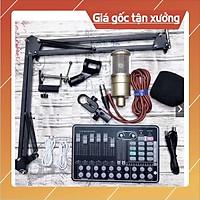 Bộ livestream Thu Âm mic AQ220 Sound card H9 autu-tune có Bluetooth Chân kẹp mic