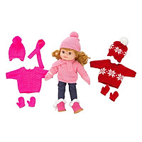 Doll Winter Clothes Outfits Knit Sweater, Gloves, Scarf, Hat, Pants and Snow Boot Set of 3 Item for 43cm 17'' inch Baby Doll Accessories Clothing