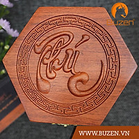 Hộp đựng trà đựng chè bằng gỗ hương cao cấp khắc chữ PHÚC mang tài lộc cho gia chủ
