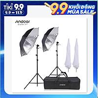 Bộ 2 Ô Trắng Và Bạc Đèn Flash Andoer (2 x 2M) + 2 Chân Đèn (83cm) + Đế Gắn B-Type + 1 Túi Đựng Cho Canon Nikon Yong