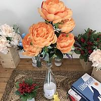 Binh Hoa Giả - Hoa Trà Cao Cấp - Bình Thủy Tinh - Hoa Vải Để Bàn
