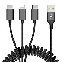 Dây cáp sạc nhanhlò xo 3.3A 3 in 1 Lightning / Type-C / Micro USBhiệu ROCKdài 200cm (Sạc cùng lúc 3 thiết bị, chip sạc thông minh) - Hàng nhập khẩu