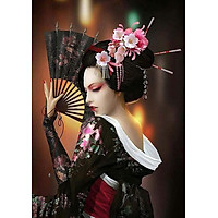 Bimkole 5D Diamond Painting Fan Geisha Full Drill DIY Rhinestone Pasted with Diamond Set Arts Craft Decorations (12x16inch)