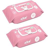 Combo 2 gói khăn giấy ướt Aiko hồng ( 100 tờ / gói )
