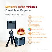 Máy chiếu thông minh mini Vayo - Smart Mini Projector công nghệ DLP kết nối Android, IOS, pin 2 tiếng, có sẵn loa, độ phân giải fullHD sắc nét, hàng chính hãng, bảo hành 12 tháng