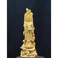 Tượng gỗ Phật Bà Quan Âm Như Ý- Gỗ Hoàng Dương - mẫu SP002400