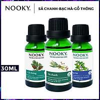 Combo 3 chai tinh dầu cao cấp NOOKY: tinh dầu Sả chanh (10ml) + tinh dầu Bạc hà (10ml) + tinh dầu Gỗ thông (10ml)
