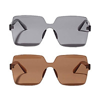 2 Pcs Women's Oversized One-piece Sunglasses Rimless Sun Glasses Party