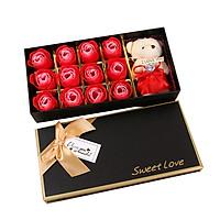 Quà 20/10 – Hộp sweet love 12 hoa hồng sáp kèm gấu bông i love you