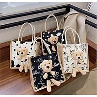 Túi Cói kèm gấu brown Mini Size 21 Phong Cách Vintage