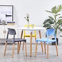 Ghế nhựa vuông chân gỗ
