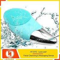 Máy rửa mặt mini massage tích hợp sóng âm HT SYS - Love Leaf - Facial Cleansing & Massaging Device