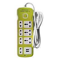 Ổ Cắm Điện Nakagami 2 USB + Ổ Cắm Đa Năng -Dây 2m (Giao màu ngẫu nhiên)