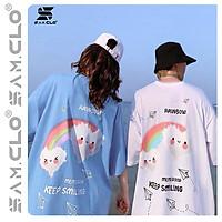 Áo thun tay lỡ nữ SAM CLO freesize phông form rộng dáng Unisex, mặc lớp, nhóm, cặp in hình MÂY CẦU VỒNG KEEP SMILING