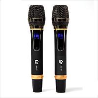 Trọn Bộ 2 Micro Hợp Kim Sang Trọng, Màu Xám Model MU01, Hát Karaoke Cựa Hay, Cực Nhẹ, Dễ Dàng Sử Dụng Cùng Với Đầu Thu Mini - Chính Hãng