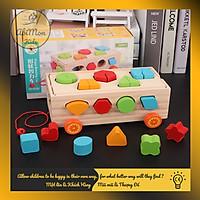 Xe Kéo Gỗ Thả Số Và Hình Khối Cho Bé    Montessori cao cấp    Đồ chơi Gỗ - Giáo dục - An toàn - Thông minh