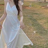 Đầm công chúa Ulzzang hai dây trễ vai dáng dài