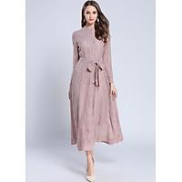 Đầm dài tay màu hồng Đầm  Đầm midi