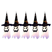 5PCS Halloween Witch Hat Hanging Light Ghost Wizard Hat Shaped LED Ghost Lamp Battery-Powered Hanging Flashing Witch