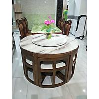 Bàn ăn mặt đá tròn xoay xếp gọn 6 ghế - hàng nhập khẩu Malaysia