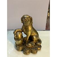Tượng Chó ngồi trên tiền bằng đồng cao 12cm