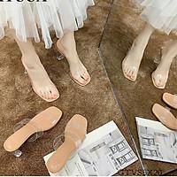 Sandal Guốc Cao Gót Hai Quai Bản Trong Gót Vuông Cao 6.5cm