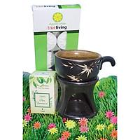 Combo đèn xông tinh dầu nến hình ly cafe + tinh dầu sả chanh 10ml Bio Aroma tặng kèm 10 viên nến tealight (đèn giao màu ngẫu nhiên)