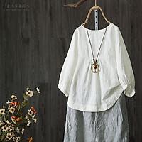 ZANZEA Women 3/4 Lantern Sleeve Casual Plain Shirt Tops Round Neck Oversize Blouse Plus