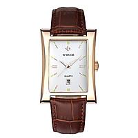 Đồng hồ WWOOR thạch anh mặt số hình chữ nhật bắt mắt dành cho doanh nhân Dây da chống thấm nước - Loại 2