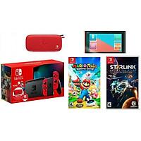 Bộ Máy Chơi Game Nintendo Switch Bundle Mario Kèm 2 Game Rabbids Kingdom Battle + Starlink - new model 2019- hàng nhập khẩu