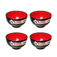 Bộ 4 Bát nhựa sơn mài màu đỏ (cỡ nhỏ) nội địa Nhật Bản