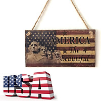 (Toponeto) American 4th of July Independence Day Wooden Plaque Sign God Bless America