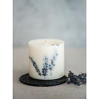 Nến thơm cao cấp bằng sáp đậu nành, trang trí với hoa lavender Pháp thư giãn và lãng mạn, hương thơm tự chọn