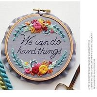 Set thêu embroidery ( kèm khung ,vải in sẵn mẫu và chỉ thêu, kim)