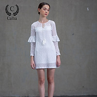 Đầm nữ Callia Libby ren dáng suông tay dài phối bèo (Trắng)